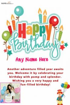 Colorful Birthday Wish For Friend With Name and Photo
