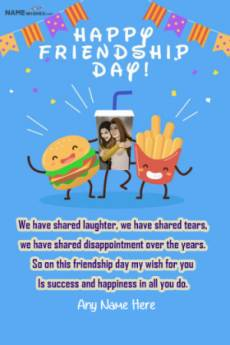 Fast Food Lovers Friendship Day Quotes With Name Pic