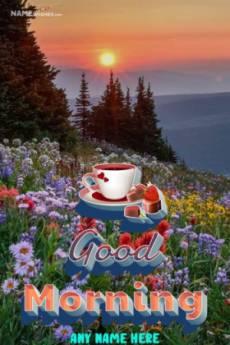 Good Morning Lovely Photo Frame With Name Edit