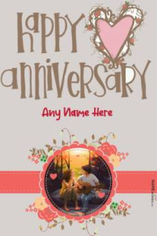 Happy Anniversary Lovely Photo Frame With Name Editor
