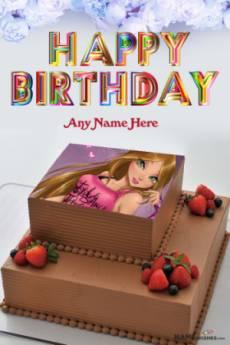 Happy Birthday Chocolate Cake With Name and Photo
