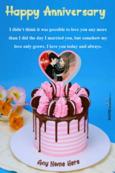 Heart Oreo Marriage Anniversary Cake With Name and Pic