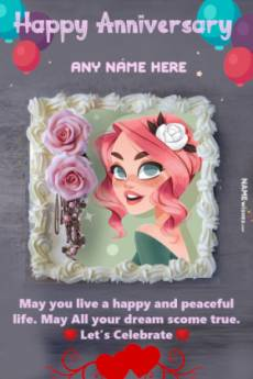 Pink Roses Anniversary Cake With Name and Photo Edit