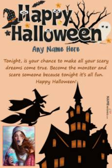 Scary Halloween Wishes With Name and Photo Editor
