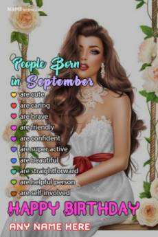 September Birthday Wish With Name and Photo Edit
