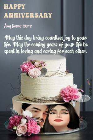 3 Tier Happy Marriage Anniversary Cake With Name and Photo