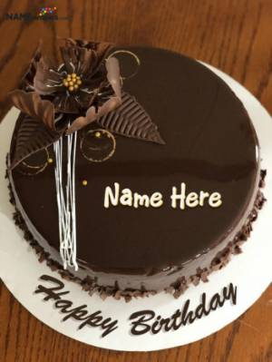 3D Flowers Dark Chocolate Birthday Cake With Name For Friends