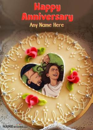 Anniversary Cake With Name and Pic Edit Special