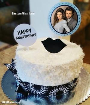 Anniversary Cake With Photo and Wish