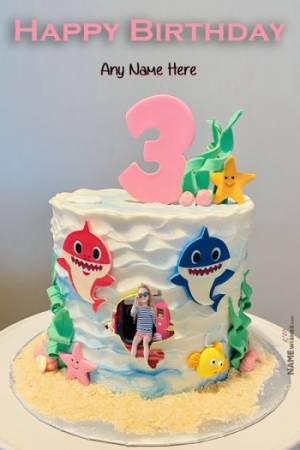 Baby Shark Themed 3rd Birthday Cake with Name and Photo