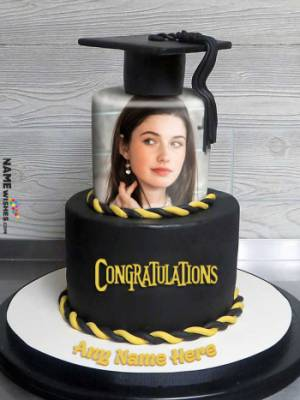 Bachelors Graduation Greetings Hat Cake With Name And Photo