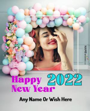 Balloons BackDrop Happy New Year Photo Frame with Name