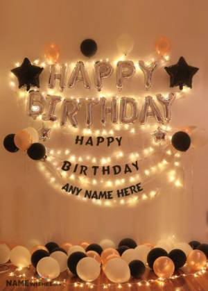 Balloons Happy Birthday Backdrop With Name
