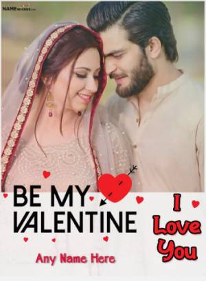 Be My Valentine Photo Frame with Name Edit Online Free