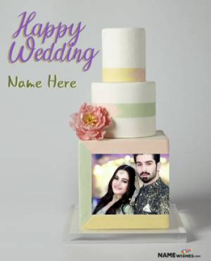 Beautiful Unique Vanilla Happy Wedding Cake With Name and Pic
