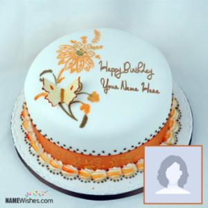 Beautiful Butterfly Birthday Cake With Name