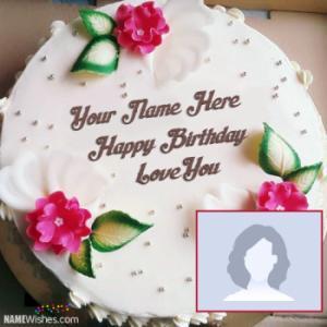 Beautiful Flowers Birthday Cake With Name