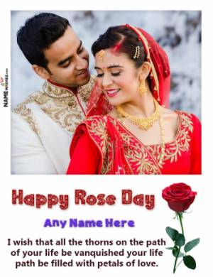 Beautiful Happy Rose Day White Photo Frame With Name Online Edit