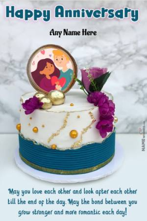 Beautiful Ocean Cake anniversary Cake with Name and Photo Frame