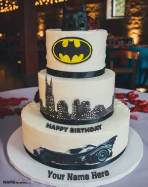 Birthday Batman Cake With Name Edit