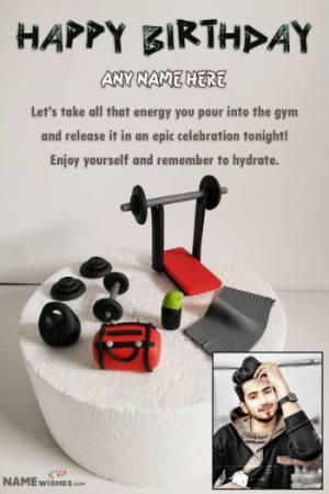 Birthday Cake For Gym Lover With Name - Fondant Gym Birthday Cake