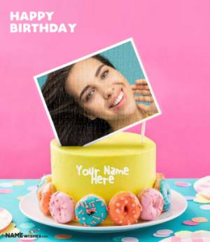 Birthday Cake With Name and Photo - Colorful Donuts Cake