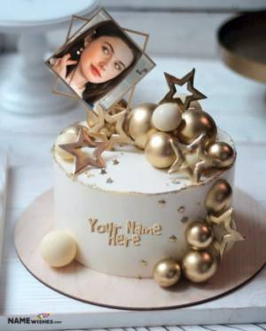 Birthday Cake With Name and Photo - Golden Pearls