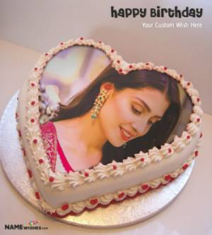 Birthday Cake With Name and Photo - Heart Cake For Everyone
