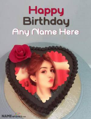 Birthday Cake With Name and Photo - Heart Chocolate Cake