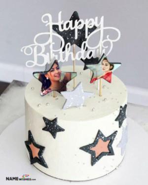Birthday Cake with Photo - 2 Photos on Cake in Stars
