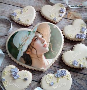 Birthday Cake with Photo - Big Heart Cookie Photo