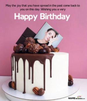 Birthday Cake with Photo - Chocolate Cake Edit Online