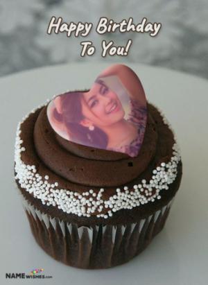 Birthday cake with photo - Cupcake With Heart