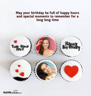 Birthday Cupcakes With Name and Photo For Lovers
