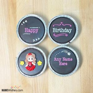 Cute Fondant Happy Birthday Cupcakes With Name Editing