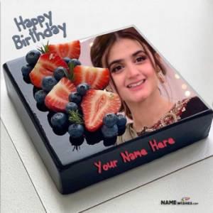 Black Chocolate Birthday Cake With Name and Photo