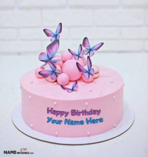 Butterfly Happy Birthday Cake With Name Edit