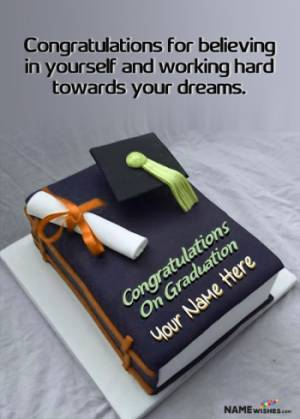 Cap And Books Graduation Cake With Name For Best Friend