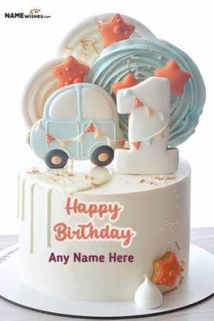 Car Themed Happy 1st Birthday For Boys or Girls With Name