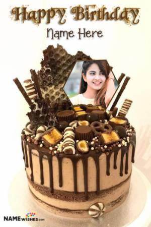 Caramel Chocolate Kit Kat Cake With Name And Photo