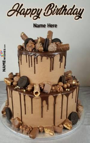 Caramel Chocolate Oreo Birthday cake With Name For Husband