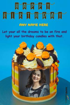 Caramel Crunch Birthday Cake With Name and Photo
