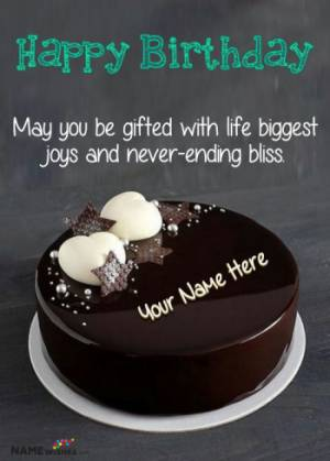 Chocolate Birthday cake With Name and Wish For Friends or Family