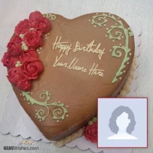 Chocolate Heart Birthday Cake With Name Option