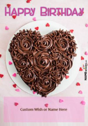 Chocolate Heart Shaped Rosette Cake With Name For GirlFriend