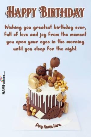 Chocolate Macrons Birthday Cake With Name Edit Online
