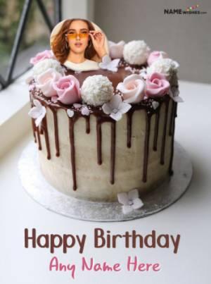 Chocolate Vanilla Rose Birthday Cake With Name and Photo