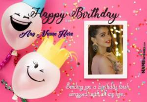 Colorful Birthday Wish For Friends With Name and Photo