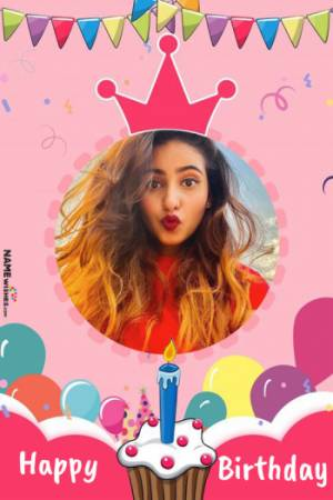 Colorful Funky Birthday Image With Name And Photo Frame