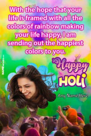 Colorful Happy Holi Wish With Name and Pic Edit Online